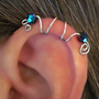 "No Piercing ""Seahorse"" Ear Cuff Helix Cuff Handmade 1 Cuff Silver Tone Blu-Ray Crystals or 17 COLOR CHOICES"