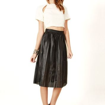 Game Over Black Perforated Vegan Leather Skirt on Bogatte