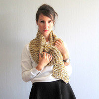 Scarf knit unisex hand knitted scarf yellow rustic mustard chunky cozy scarf men scarf knit woman casual