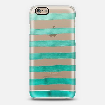 Turquoise Stripes (transparent) iPhone 6 case by Lisa Argyropoulos | Casetify