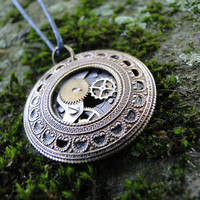 Antique Brass Filigree Circle Steampunk Pendant