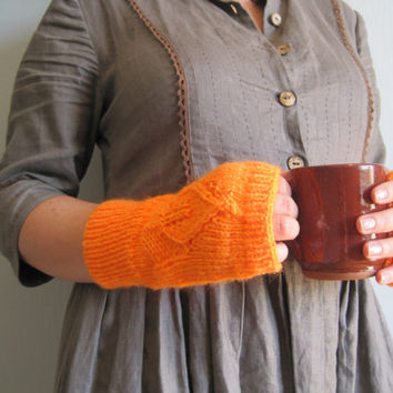 Knit gloves mittens gloves fingerless knitted in orange pumpkin any season hand knitted for girl woman