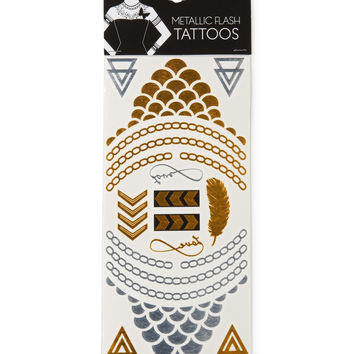 Aeropostale Metallic Flash Temporary Tattoos - Gold, One
