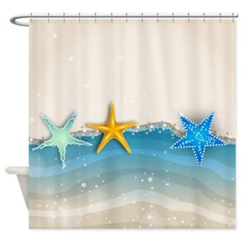 Starfish And Sand Shower Curtain> Shower Curtains> SpiceTree Gift Shop