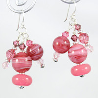 Pretty in Pink Dangly Lampwork Glass Earrings made with Sterling Silver and Swarovski Crystals