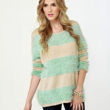 Polar Opposites Mint and Beige Sweater