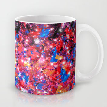 WRAPPED IN STARLIGHT Bold Colorful Abstract Acrylic Painting Galaxy Stars Pink Red Purple Ombre Sky Mug by EbiEmporium