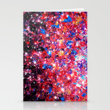 WRAPPED IN STARLIGHT Bold Colorful Abstract Acrylic Painting Galaxy Stars Pink Red Purple Ombre Sky Stationery Cards by EbiEmporium