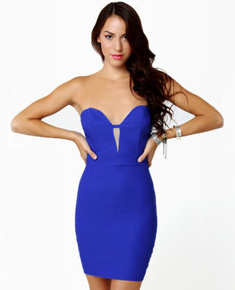 Get Low Strapless Cobalt Blue Dress