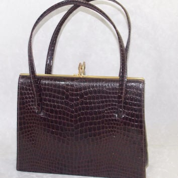 Handbag, Women's Handbag, Ladies Handbag, Hilmar Handbag, Brown Patent, Mock Croc, Faux Leather - 1970s