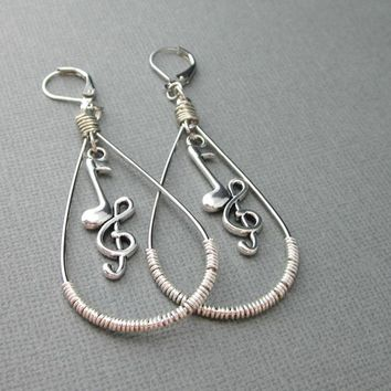 G Clef With Music Note Charm Long Earrings Unique Like No Other OOAK