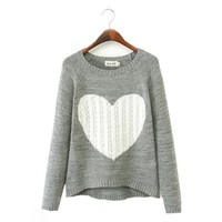 Gorgeous Big Heart Sweater Pullovers Casual Knitted Grey Size M