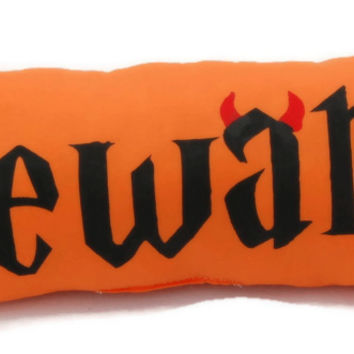 Orange Beware Halloween Pillow, Decorative Pillow, Bolster Pillow, Fall Throw Pillow, Halloween Decorations, Autumn Pillows, Halloween Decor