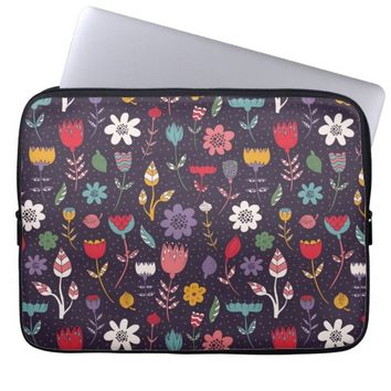 Abstract Colorful Spring Flower Pattern Computer Sleeve