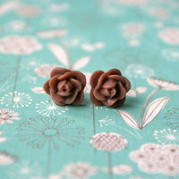 Petite Brown Rose Cabochon Earrings