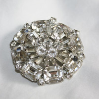 Vintage Chunky Weiss Brooch Clear  Rhinestone 1950s Jewelry