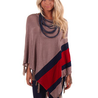 Taupe Poncho with Red and Blue Accent