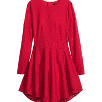 H&M - Lace Circle Dress - Red - Ladies