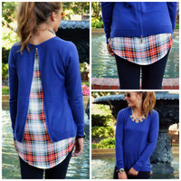 Trend Setter Navy Plaid Lined Top