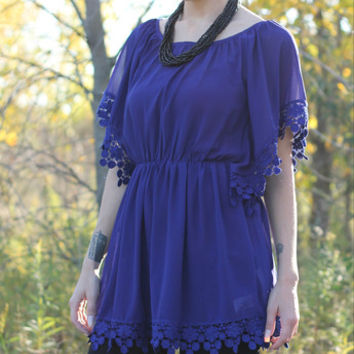 Cobalt Blue Poncho Tunic with trim detail | Posh Boutique