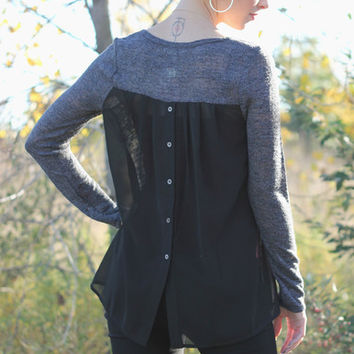 Long Sleeve top with back contrast and button detail | Posh Boutique