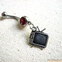 Television Belly Button Ring - TV Belly Rings, Retro Navel Piercing Body Jewelry