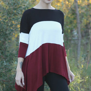 Rust Colorblock Tunic | Posh Boutique