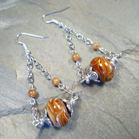 Swirled Lampworked Glass and Agate Earrings