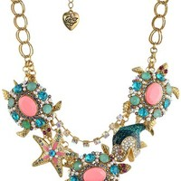 "Betsey Johnson ""Shell Shocked"" Turtle Necklace, 19"""