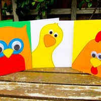 Cute Animals Handmade Birthday Greeting Cards pack of 3