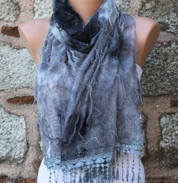 Gray Scarf -  Cowl with Lace Edge &quot;Butterfly effect&quot;