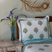 Dance O Peacock ~ Ivory Peacock Feather Print Queen Duvet Cover