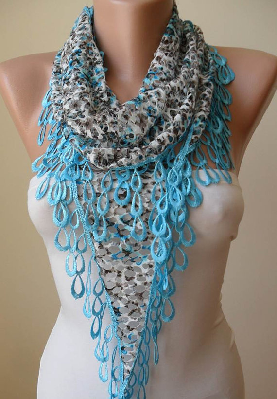 ON SALE - Perforated Fabric --Light Blue Scarf with Light Blue Trim Edge -- Summer Design