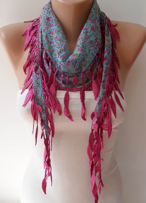 Blue Flowered Scarf with Pink Trim Edge --Summer Colors