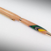 Cherry Wood Pen with Rainbow Birch inlay