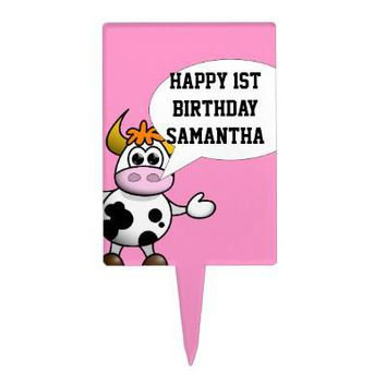 Cartoon cow and speech bubble rectangular cake pick from Zazzle.com