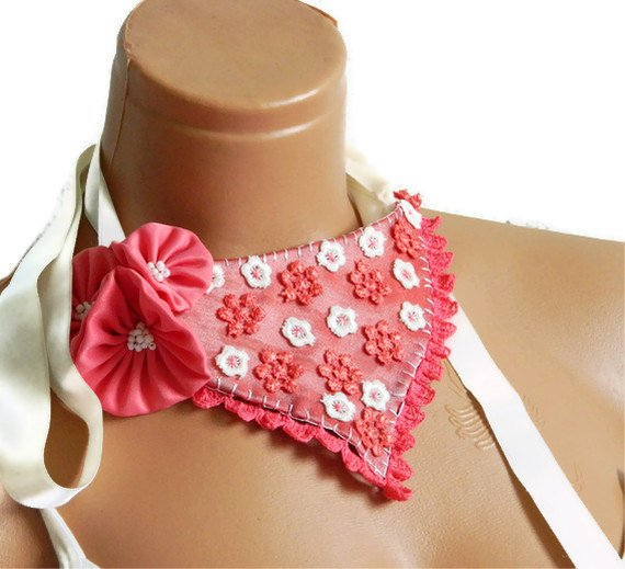 Coral ivory, flower lace, bib necklace, coral wedding necklace, victorian bib necklace for bride, for bridesmaid... Summer Coral