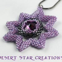 Purple Star Pendant Gunmetal Chain Necklace