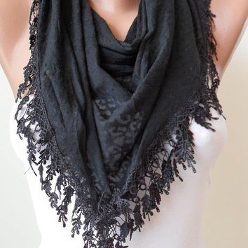 Black Scarf with Black Trim Edge -- Black Leopard Fabric - Triangular