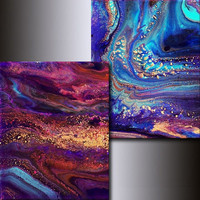Abstract 5x7 Print Set: Jewel Toned Giclees Blue Magenta