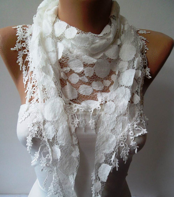 White Lace Scarf - Polka Dot with White Trim Edge - Summer Collection