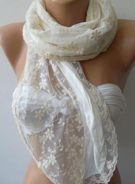 Creamy White / Shawl /Scarf / Romantic
