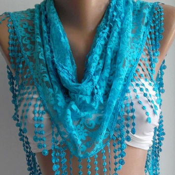 Blue / Elegance  Shawl / Scarf with Lacy Edge