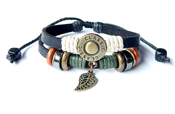 Peace Fashion buckle Adjustable  hipster jewelry leather bracelet with wooden bead and hollowed tube  Wristband Mens Womens194