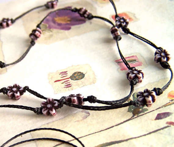 Black Flower Necklace, Knotted Cord, Aubergine Black & Pale Grey Tiny Flower Beads, Long, Delicate, Spring, Summer Necklace