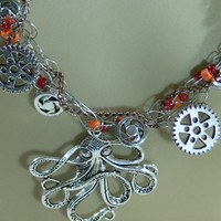Sale - Steam Punk Crocheted Wire, Chain &amp; Glass Bead Necklace - FS-056