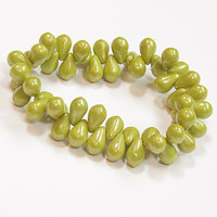 Czech Glass Drops 4x6 Chartreuse Green Beads Full Strand 50 Pieces  B647