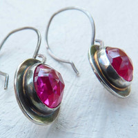 lab Ruby Earrings - blackened silver earrings - made to order