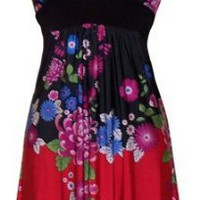 PacificPlex Asian Floral Halter Dress Knee-Length, Black Multi, X-Large: Amazon.com: Clothing