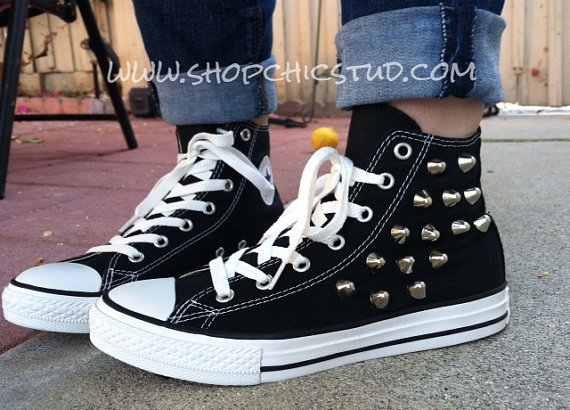 Studded Chuck Taylor ANY SIZE Converse All Stars Hi Top Black